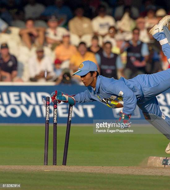 Indian wicketkeeper Dinesh Karthik stumping Michael Vaughan during the NatWest Challenge One Day International between England and India at Lord's...