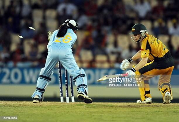 Indian wicketkeeper Sulakshana Naik breaks the wicket to dismiss Australian cricketer Alex Blackwell during the ICC Women�s World Cup Twenty20 semi...