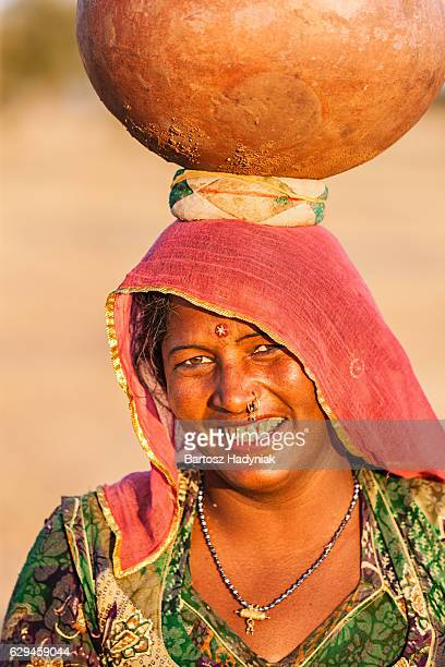 Indian woman carrying water, Rajasthan