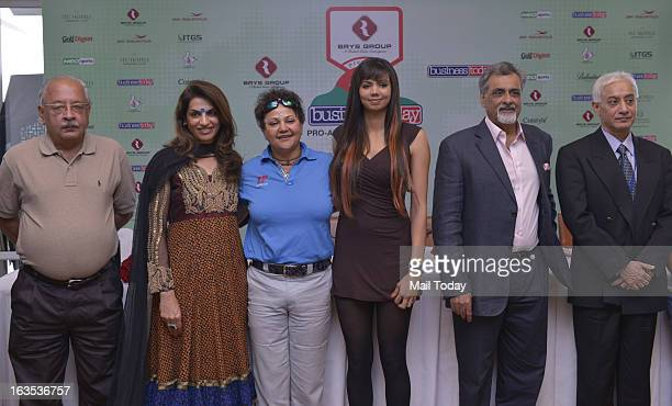 Indian woman golfer Sharmila Nicollet Ravi Puri CEO Classic Golf Resort and Anil Mehra vicechairman The India Today Group and others at BT Pro Am in...