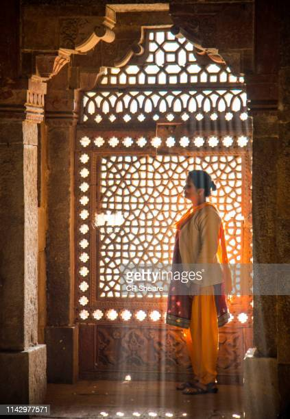 indian woman in front of stone carving window - unesco stock pictures, royalty-free photos & images