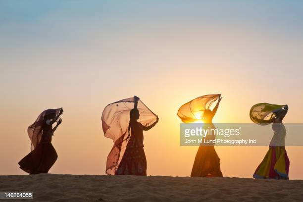 indian woman in traditional clothing in desert - sari stock pictures, royalty-free photos & images
