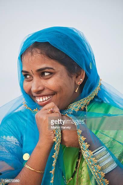 Indian woman (28 years old) in traditional Sari, Alappuzha, Kerala, India