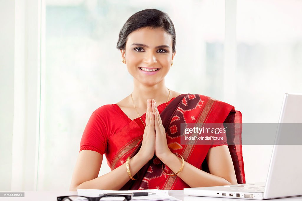 Indian Woman In Welcome Namaste Hello Greeting Pose Stock