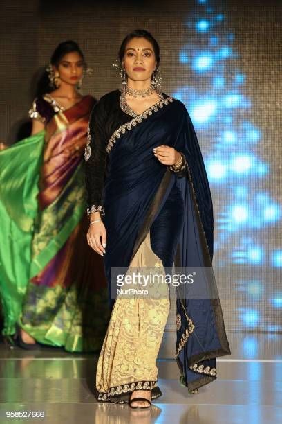 Indian woman wearing an elegant saree during a South Indian fashion show held in Scarborough Ontario Canada