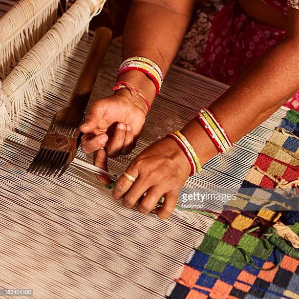 Indische Frau Weben Textilien (durry). Salawas village. Rajastha