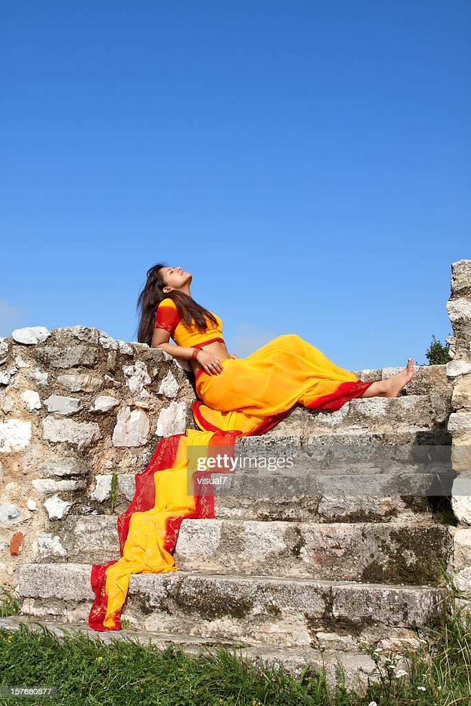 indian woman with a colorful sari : Stock Photo