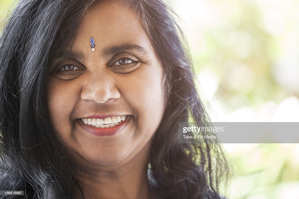 Indian Woman With Jewel On Forehead High Res Stock Photo