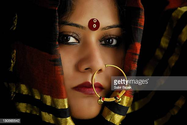 Indian  woman with traditional nose ring