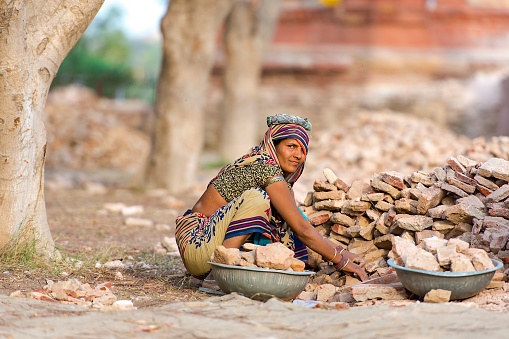 Indian Woman Worker in Agra on February 28. 2018 in India - gettyimageskorea