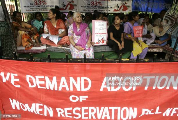 Indian women activists of the National Federation of Indian Women take part in a demonstration in New Delhi, 24 July 2006. The demonstration was held...