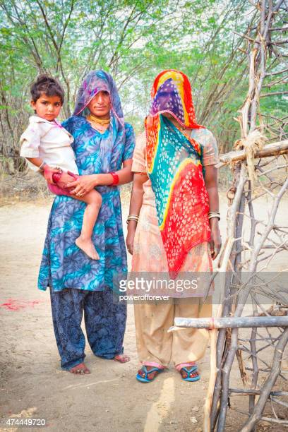 Indian Women and Child in Salapura Village, Rajasthan, India