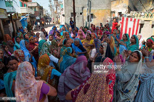 Indian women at mourning ceremony