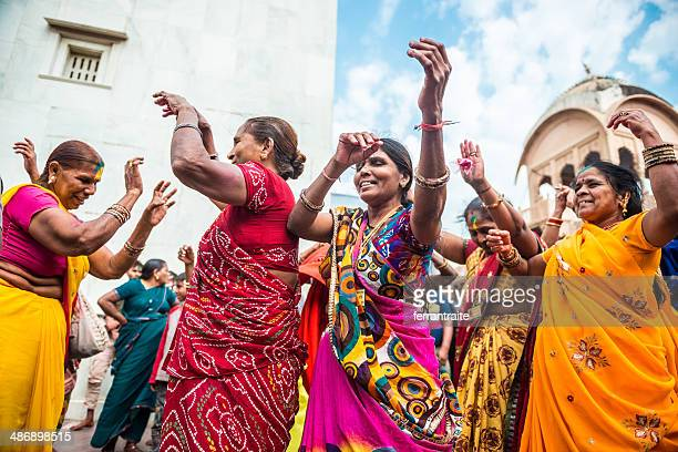 indian women celenrating holi - indian music stock photos and pictures