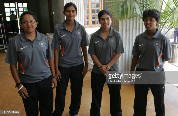 Indian Women Cricket team L to R Anangha Deshpande Sulakshana Naik and Poonam Raut during the press interaction prior to the team's departure for...