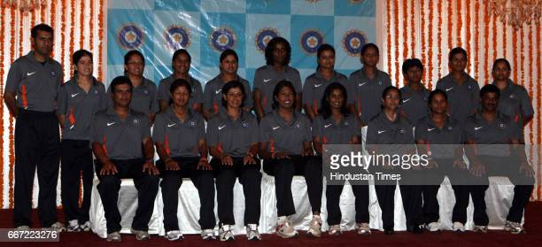 Indian Women Cricket team members during the press interaction prior to the team's departure for World Cup to West Indies at MCA Recreational ground...
