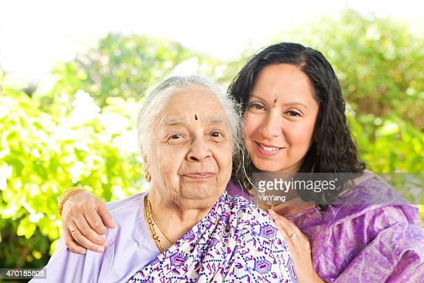 Indian Women Family with Senior Parent Mother and Adult Daughter