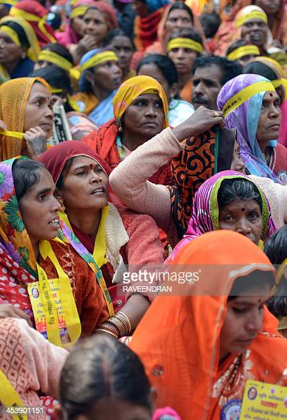 Indian women from the 'dalit' or 'lower caste' shout slogans during a Dalit Dignity Rally against Congressled UPA government near Parliament House in...
