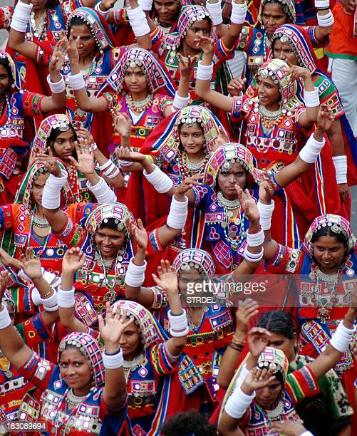 Indian women from the Lambadi tribe perform during the celebrations to mark the 200th anniversary of Secunderabad in the southern Indian state of...
