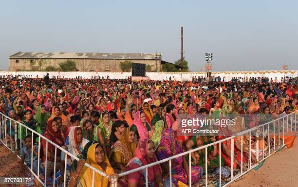 TOPSHOT Indian women from the Rajput community take part in the Rajput Maha Sammelan gathering at Bhaliya village some 40km from Ahmedabad on...