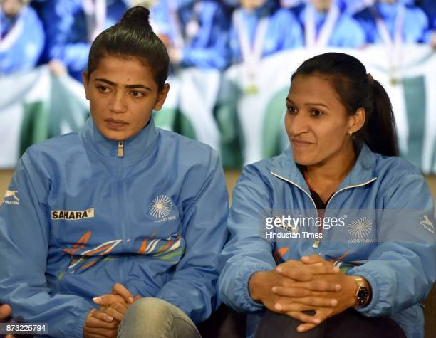 Indian Women Hockey goalkeeper and Vice Captain Savita Punia and Captain Rani Rampal during an exclusive interview with Hindustan Times after winning...