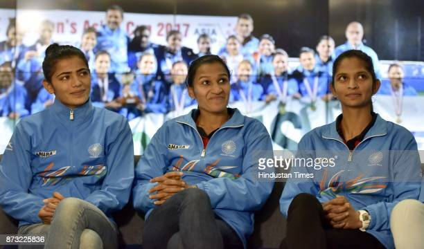 Indian Women Hockey goalkeeper and Vice Captain Savita Punia Captain Rani Rampal and Navneet Kaur during an exclusive interview with Hindustan Times...