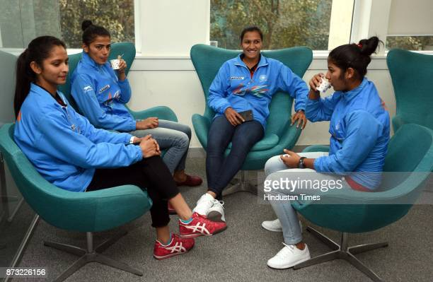 Indian Women Hockey players Navjot Kaur goalkeeper and Vice Captain Savita Punia Captain Rani Rampal and Navneet Kaur during an exclusive interview...