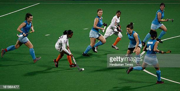 Indian Women Hockey Players Vandana Katariya and Ritu Rani making move as Kazakhstan players defend during the Hockey World League Round 2 match at...