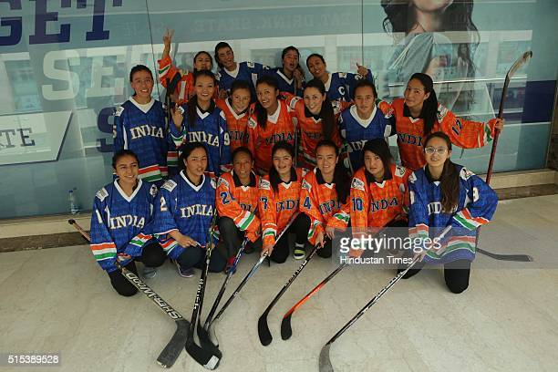 Indian Women Ice Hockey team players posing for a profile shoot during an interview with HT CityHindustan Times on International Women's Day at Ice...