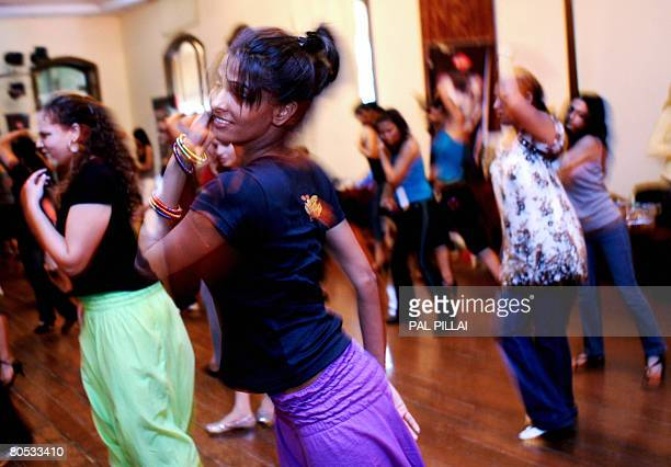 Indian women practise Salsa moves at a workshop in Mumbai on April 5 2008 Salsa already an international dance craze across several countries is...
