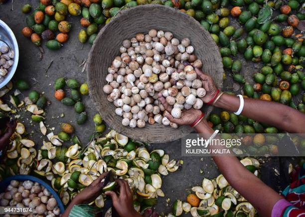 Indian women prepare betel nut at Chamariya village in Kamrup rural district of the northeastern Indian state of Assam on April 11 2018 / AFP PHOTO /...