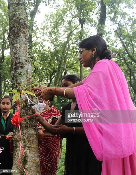 Indian women tie a 'rakhi' around a tree during the celebration of Hindu festival Raksha Bandhan in Siliguri on August 29 2015 A group of women tied...