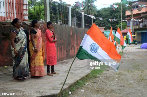 Indian women watching Independence Day celebration in Shivnibas Nadia district 95 km from Kolkata India on Friday 18th August 2017 While the entire...
