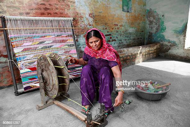 Indian Women Weaving Textile (durry).