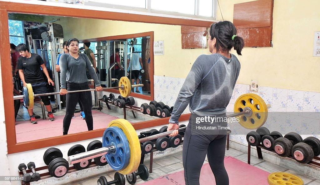 Indian women wrestler Sakshi Malik during the practice session at wrestling training centre on October 7 2015 in Rohtak India Sakshi Malik won the...