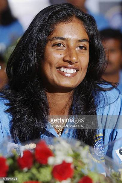 Indian women's cricket captain Mithali Raj smiles at a felicitation function in Bombay for the team's performance in the recent Women's World Cup...
