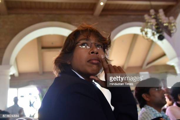 Indian Women's Cricket player Jhulan Goswami at the felicitating event on July 27 2017 in New Delhi India Mithali Raj led India to the final of the...