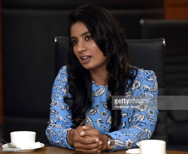 Indian Women's Cricket Team Captain Mithali Raj during the FICCI Ladies Organisation engages in an interactive session titled Breaking Boundaries at...