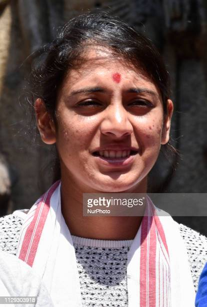 Indian womens cricket team Captain Smriti Mandhana during the visit of Kamakhya Temple in Guwahati Assam India on Friday March 8 2019
