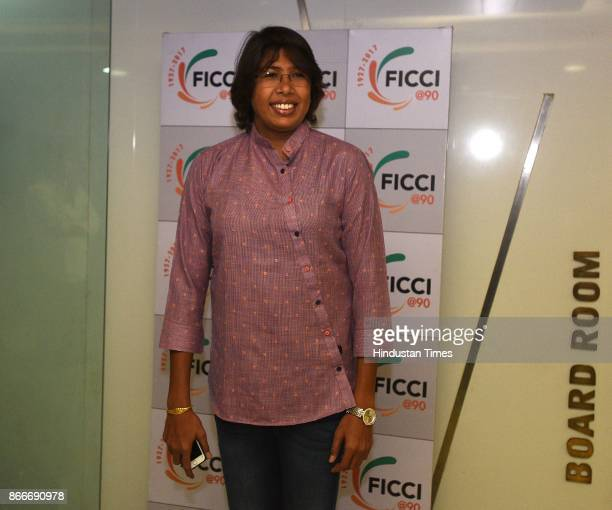 Indian Women's Cricket Team fast bowler Jhulan Goswami during the FICCI Ladies Organisation engages in an interactive session titled Breaking...