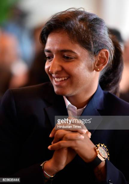 Indian Women's Cricket team player Harmanpreet Kaur during the felicitating event on July 27 2017 in New Delhi India Mithali Raj led India to the...