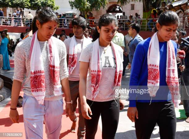 Indian womens cricket team players visit Kamakhya Temple in Guwahati, Assam, India on Friday, March 8, 2019.
