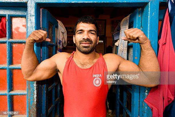 indian wrestler posing new delhi india - the olympic games stock pictures, royalty-free photos & images