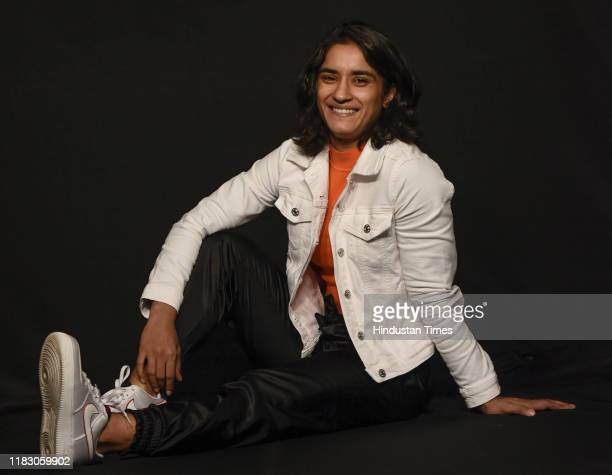 Indian Wrestler Vinesh Phogat poses for a picture during her interview at HT House on November 17 2019 in New Delhi India