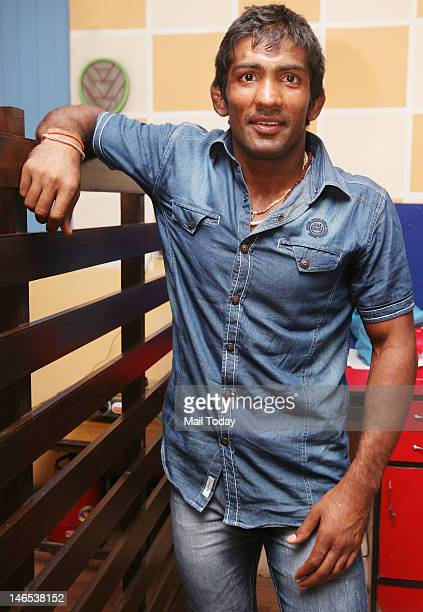 Indian wrestler Yogeshwar Dutt at a press conference in New Delhi on Saturday 16th Juna, 2012. Yogeshwar Dutt is one of the five wrestlers that have...
