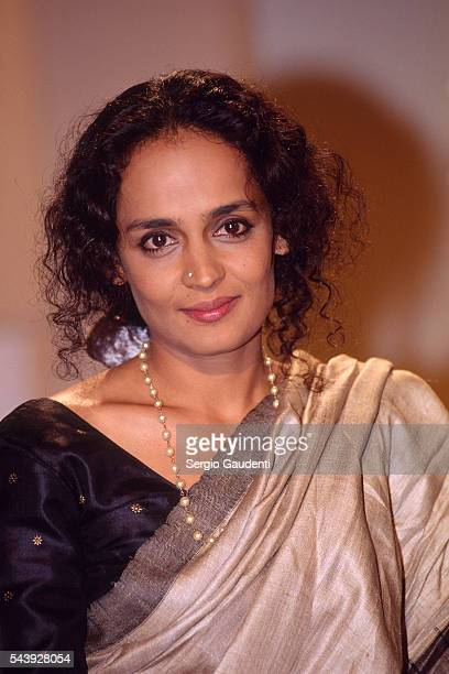 Indian writer Arundhati Roy on the set of cultural television show 'Bouillon de culture' on France 2