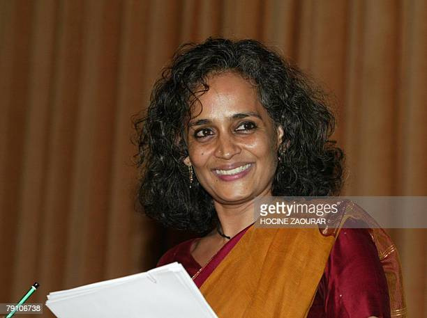 Indian writer Arundhati Roy smiles 18 January 2008 during a conference at the Bogazici University in Instanbul Roy invited to speak at the one year...