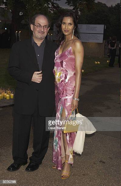 Indian writer Salman Rushdie and Padma Lakshmi attend the 2003 Serpentine Gallery Summer Party in Hyde Park on July 3 2003 in London