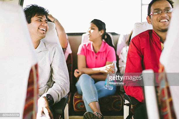 Indian young students in school bus