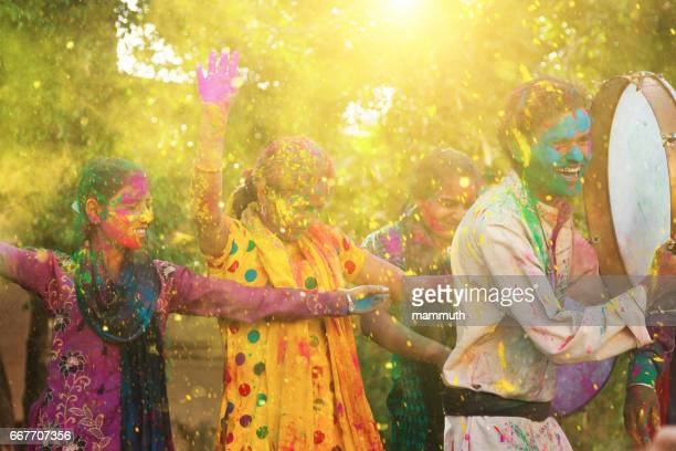 Indian youngsters celebrating holi